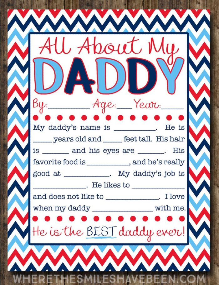 Free Father's Day Printable Kid's Interview. All About My Daddy!