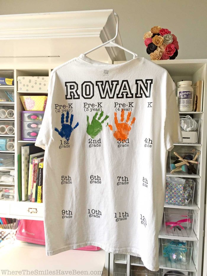 Rowan's Back-to-School Shirt with Handprints: Year 3 Update! | Where The Smiles Have Been