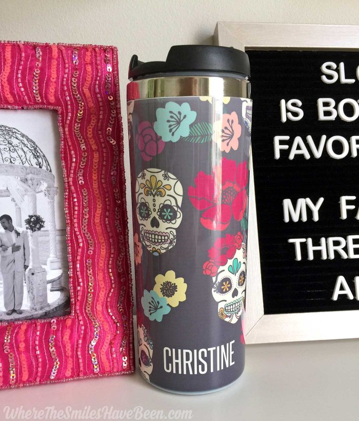 Love this personalized sugar skull travel mug! Colorful Craft Room Gallery Wall + $100 Erin Condren Giveaway! | Where The Smiles Have Been