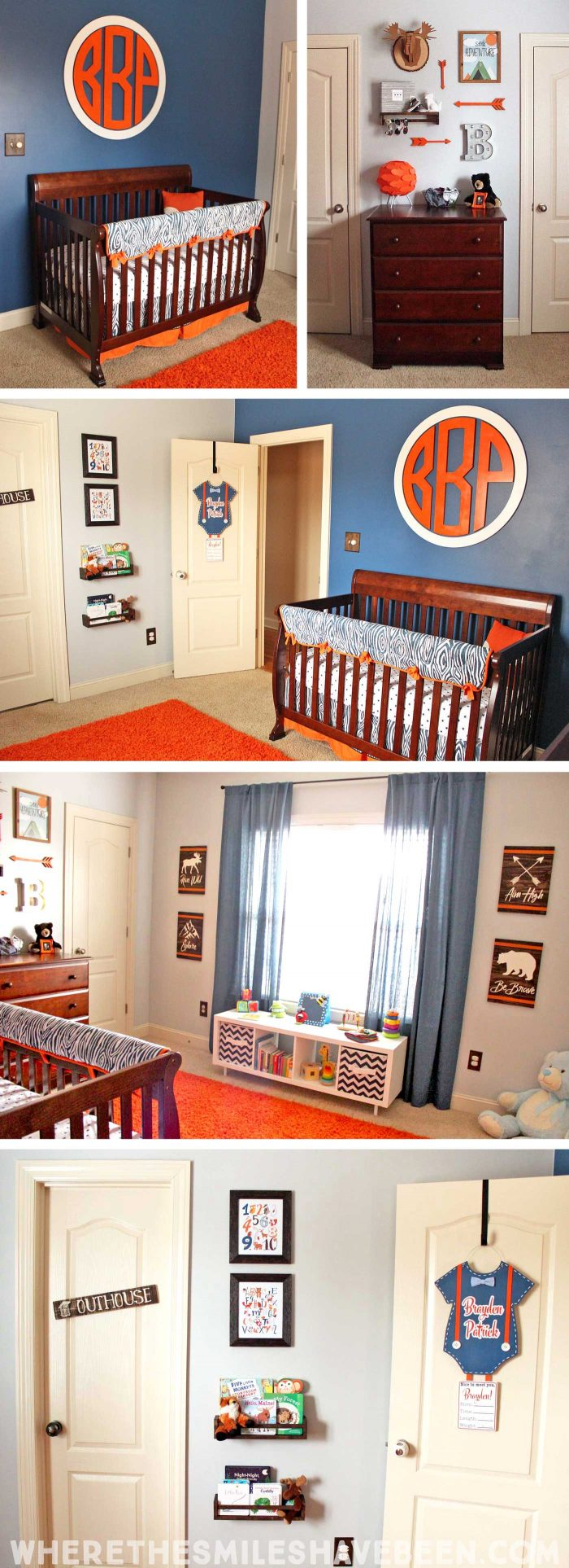 Take a tour of this Navy & Orange Modern Woodland Nursery!   Where The Smiles Have Been