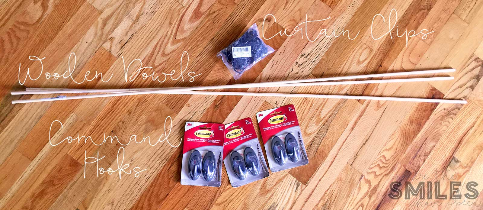 Supplies for an Easy DIY Kids Art Display: dowels, Command Hooks, and curtain clips.