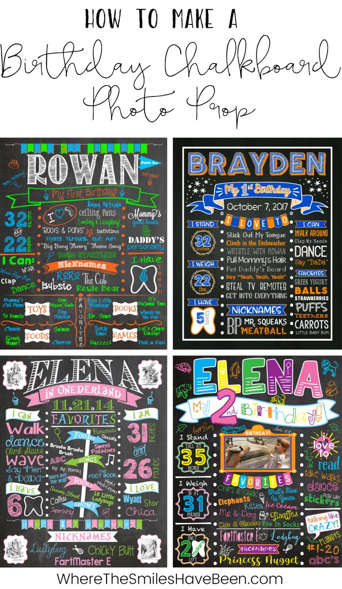 How to Make a Birthday Chalkboard Photo Prop | Where The Smiles Have Been #birthday #chalkboard #smashcake