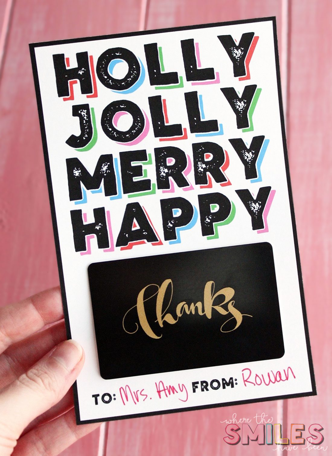 FREE Christmas Gift Card Holder Printable - Attach Any Gift Card!