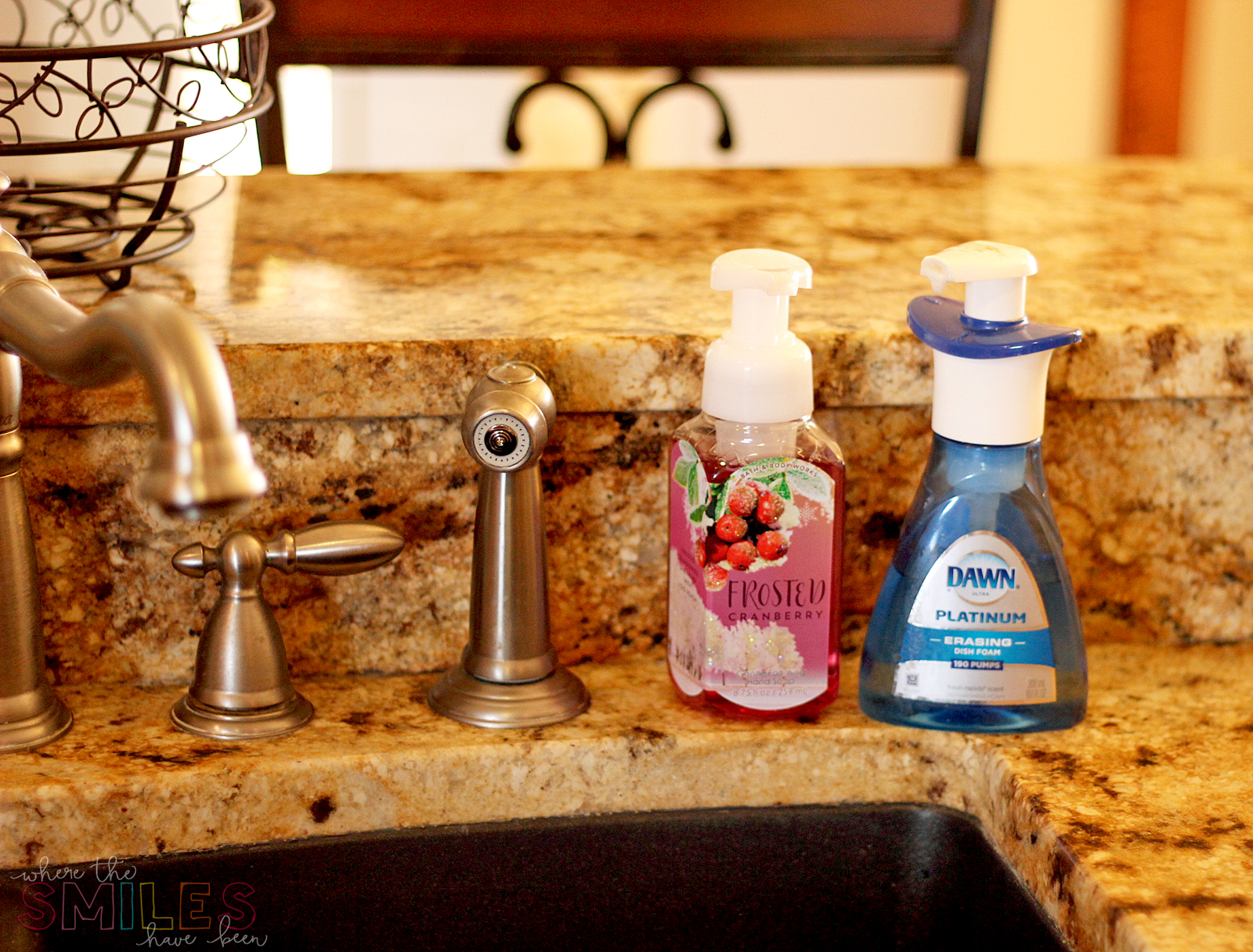 Ugly store-bough hand and dish soap bottles near kitchen sink