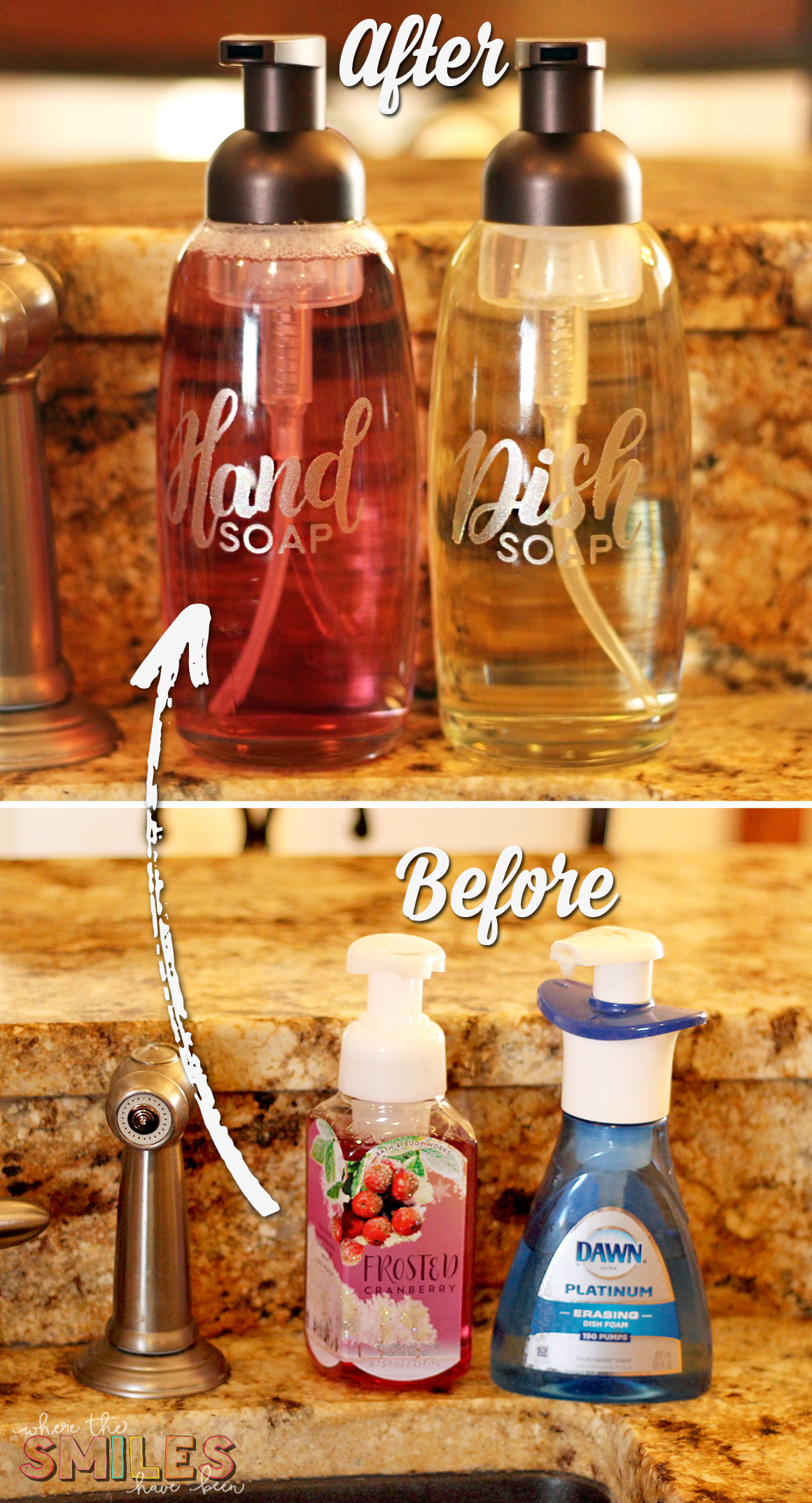 Pretty Foaming Soap Dispensers with Etched Glass Vinyl before and after
