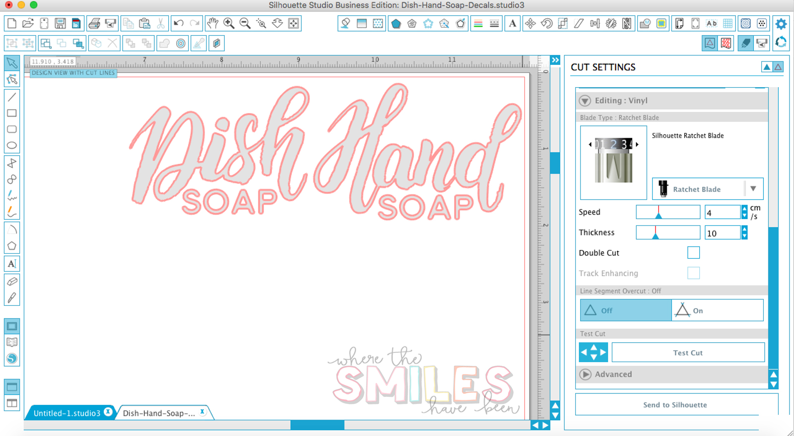 Screenshot of Silhouette Studio with designs for dish and hand soap etched glass vinyl decals