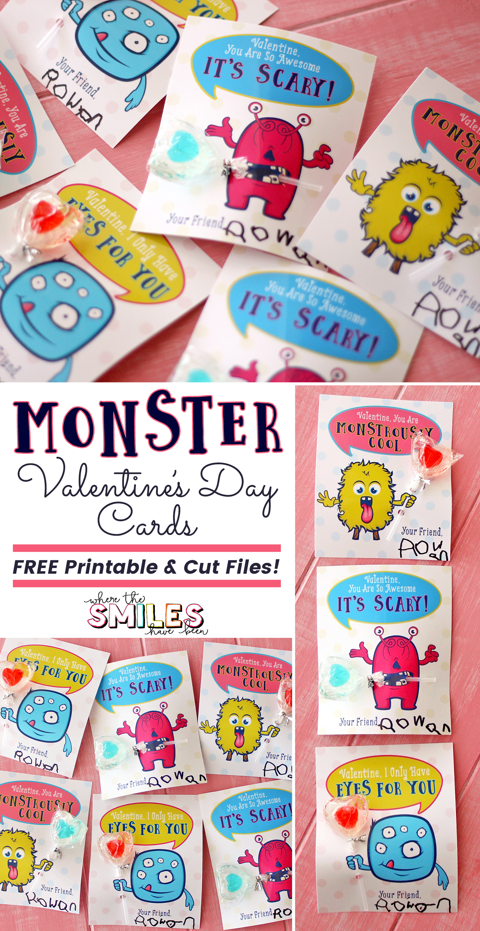 FREE Monster Valentine's Day Cards