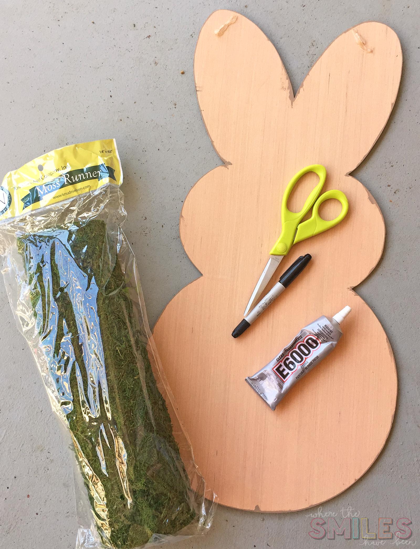 Moss Covered Bunny Door Hanger supplies