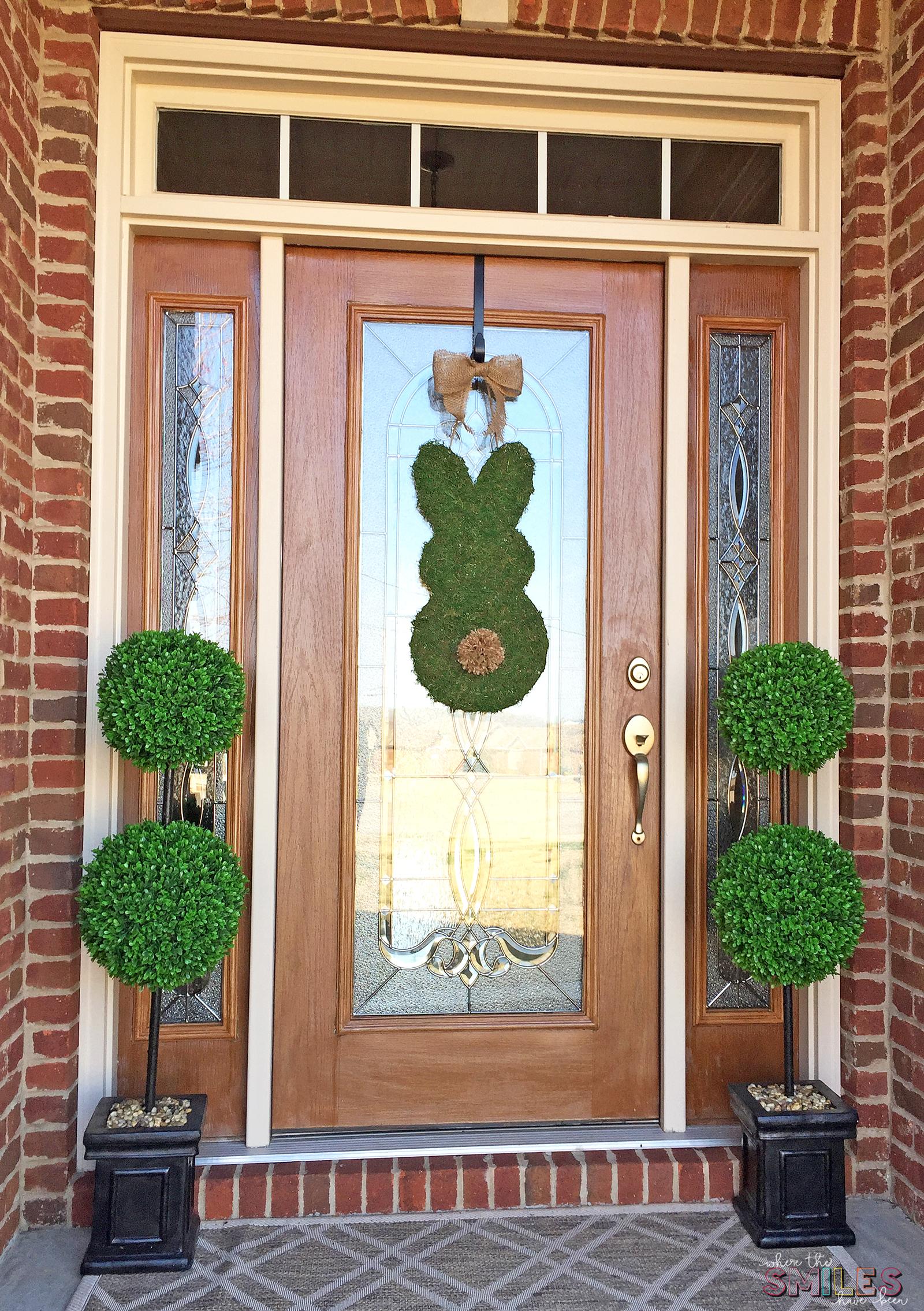 Simple Moss Covered Bunny Door Hanger for Spring