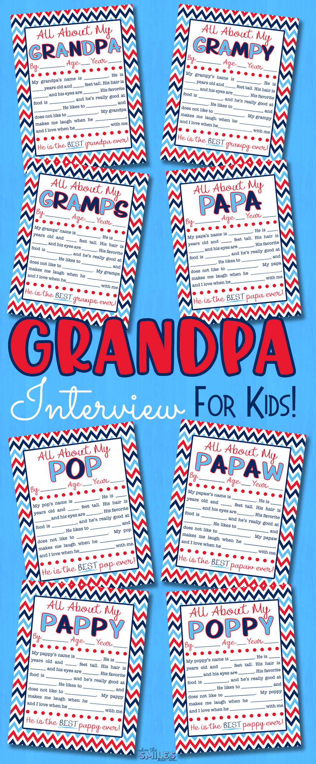 All About My Grandpa Interview with FREE Printable {EIGHT Versions} | Where The Smiles Have Been #Grandpa #Grandparents #GrandparentsDay #FathersDay #grandpainterview