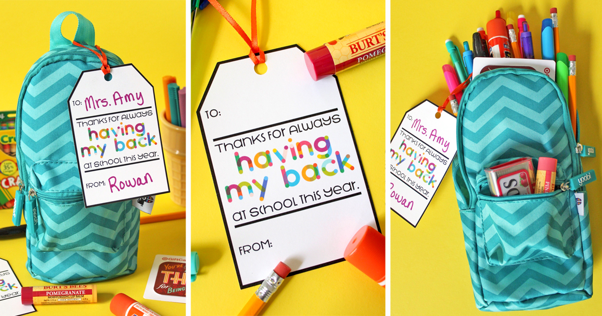 photograph about Printable Teacher Gift Tags called No cost Printable Instructor Reward Tag: Owing for Getting My Back again