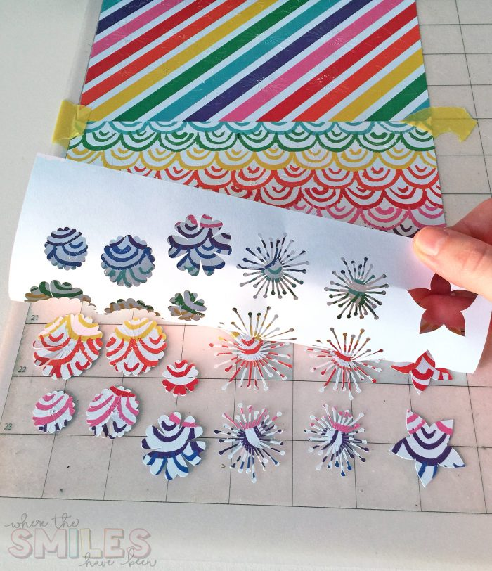 Colorful paper flowers cut by a Silhouette Cameo.