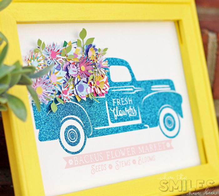 Glittery Flower Truck Sign with Colorful Mini Paper Flowers.