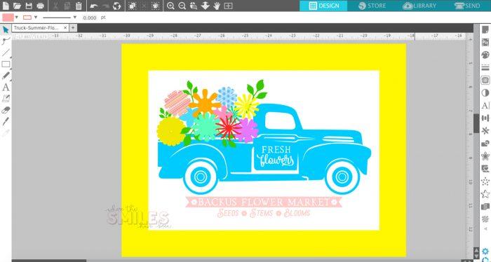 Silhouette Studio flower truck mockup.