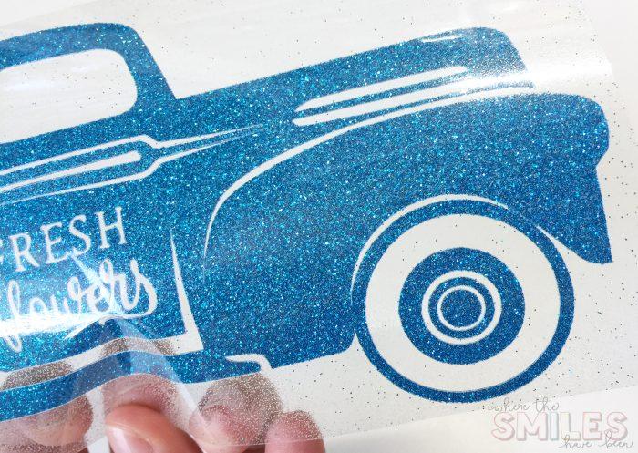 Glittery Flower Truck heat transfer vinyl decal.