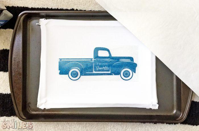 Make a Reverse Canvas using a heat transfer vinyl decal.