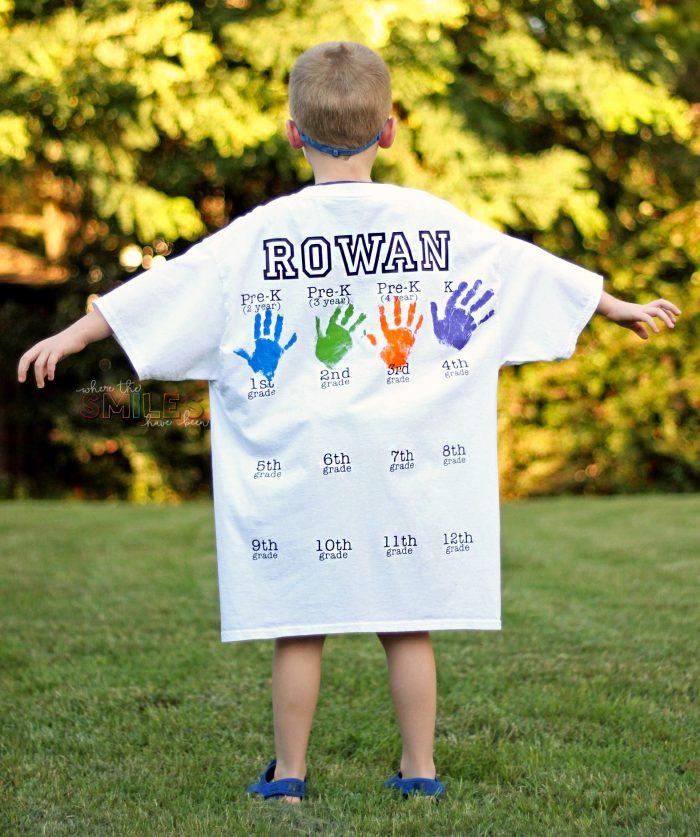 Rowan's Back-to-School Shirt with Handprints: Kindergarten Update! | Where The Smiles Have Been #backtoschool #firstdayofschool #photoprop #keepsake #graduation #school