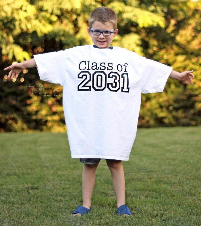 Rowan's Back-to-School Shirt with Handprints: Kindergarten Update!   Where The Smiles Have Been #backtoschool #firstdayofschool #photoprop #keepsake #graduation #school