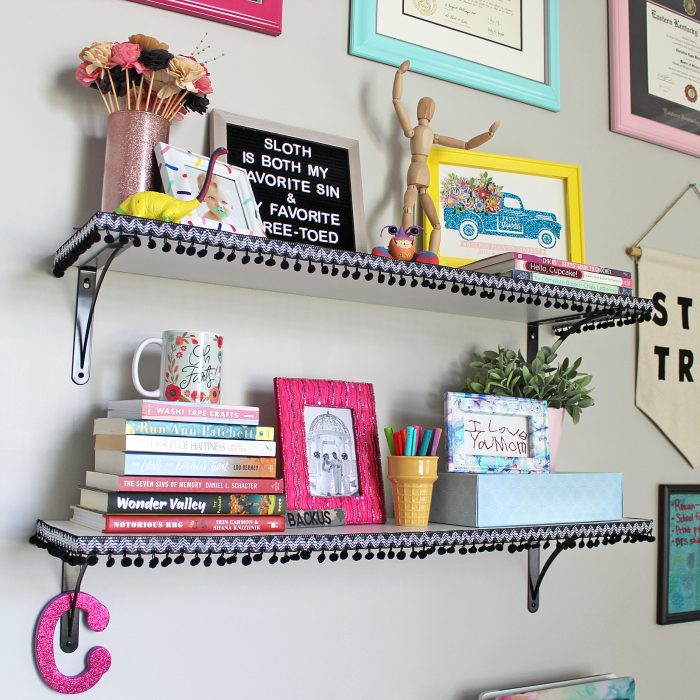 Add Pom Pom Trim to Shelves for an Inexpensive and Fun Update! | Where The Smiles Have Been #pompom #homeimprovement #DIY #craftroom #shelves