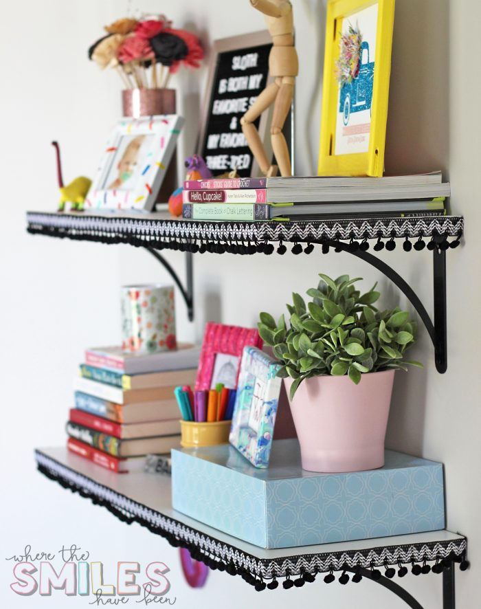 Add Pom Pom Trim to Shelves for an Inexpensive and Fun Update!   Where The Smiles Have Been #pompom #homeimprovement #DIY #craftroom #shelves