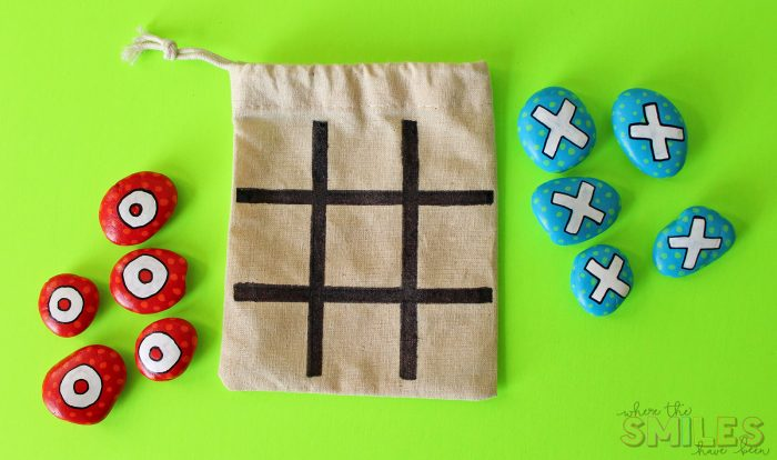 DIY Painted Rock Tic-Tac-Toe Travel Game for On-The-Go Fun! | Where The Smiles Have Been #paintedrock #tictactoe #travel #kidsgame #upcycling #easycraft #DIY