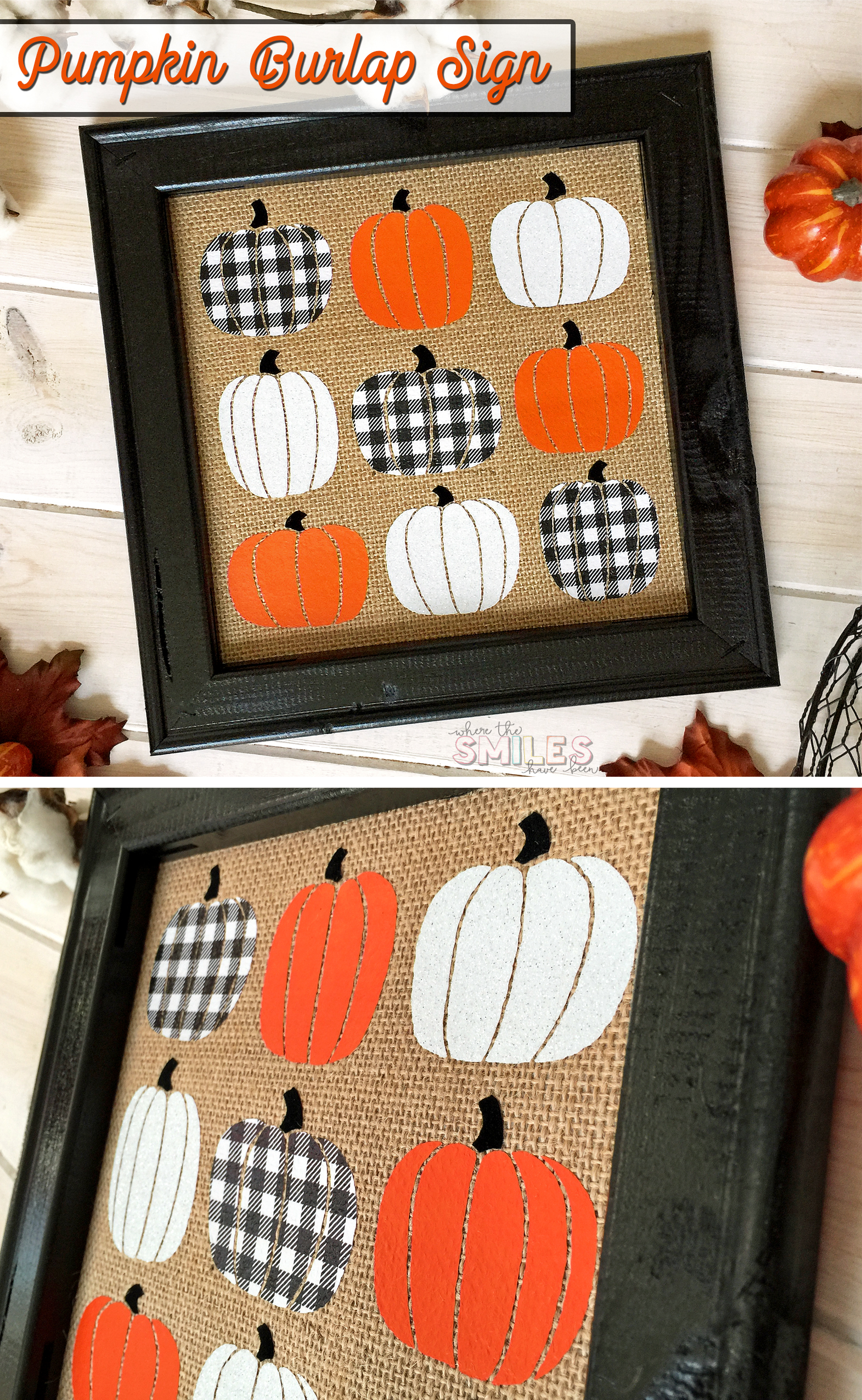 Fall Sign: Pumpkins on Burlap with FOUR Kinds of HTV!