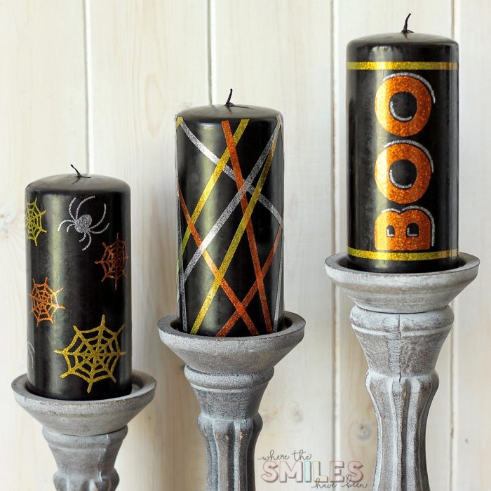 DIY Halloween Candles Using Vinyl Embellishments + FREE Cut Files | Where The Smiles Have Been #Halloween #candles #HalloweenDecor #DIY #vinyl #Silhouette #Cricut #freecutfile