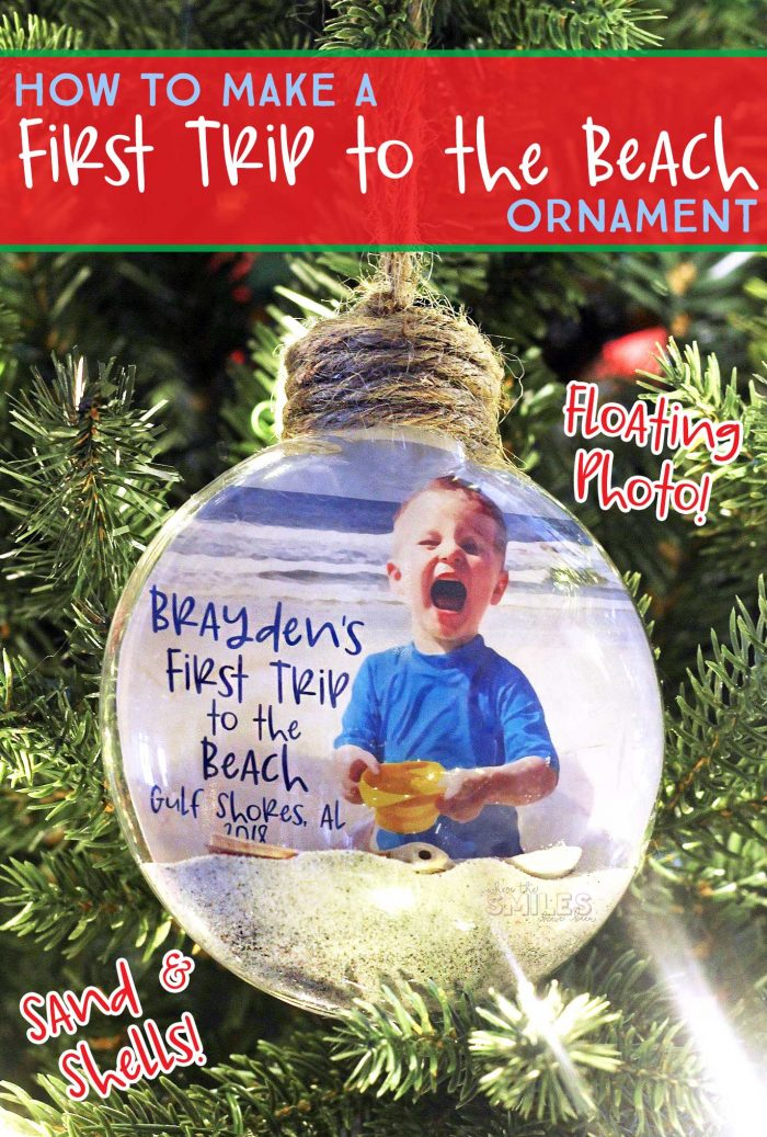 First Trip to the Beach Ornament with a Floating Photo, Sand, & Shells! | Where The Smiles Have Been #Christmas #ornament #beach #FirstTripToTheBeach #keepsake #vacation #ParentingTip #HolidayDecoration #ChristmasTree #DIY #PhotoOrnament