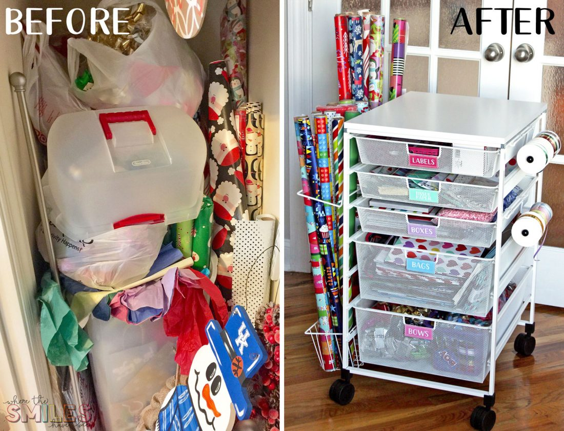 Gift Wrap Organizer Cart for wrapping paper supplies: Before and After!