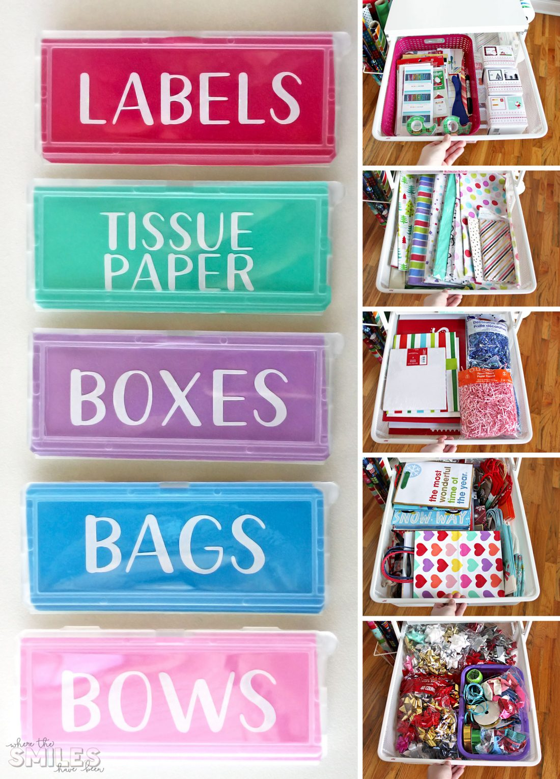 Gift Wrap Organizer Cart for wrapping paper supplies with DIY vinyl labels created with a Silhouette Cameo!