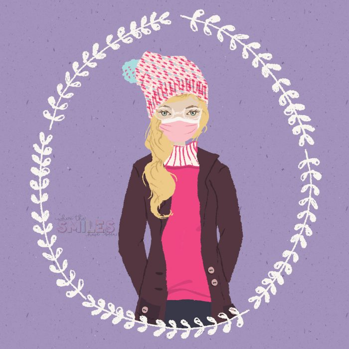 Illustrated portrait of blond woman in winter gear.