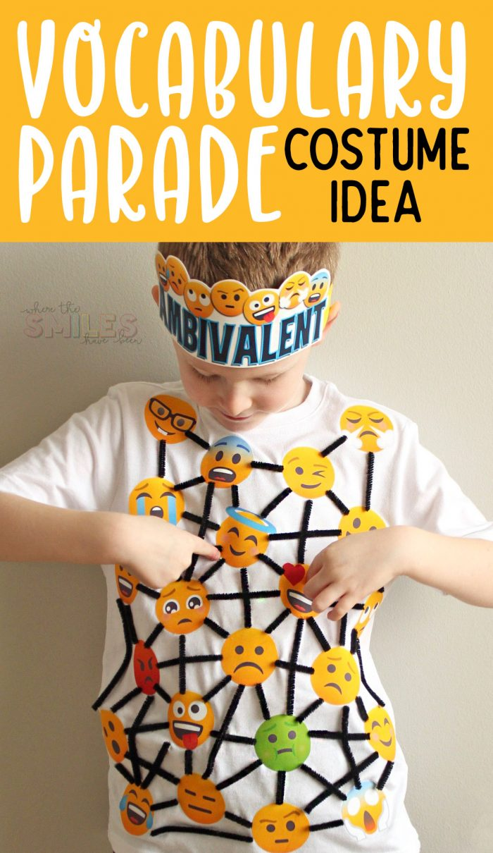 Vocabulary Parade Costume Idea: Feeling Ambivalent | Where The Smiles Have Been #VocabularyParade #SchoolProject #SchoolVocabularyParade #VocabularyParadeCostume #Emoji #PrintableHTV #Silhouette #Cricut