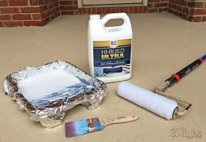 Sealing supplies when repainting a porch.