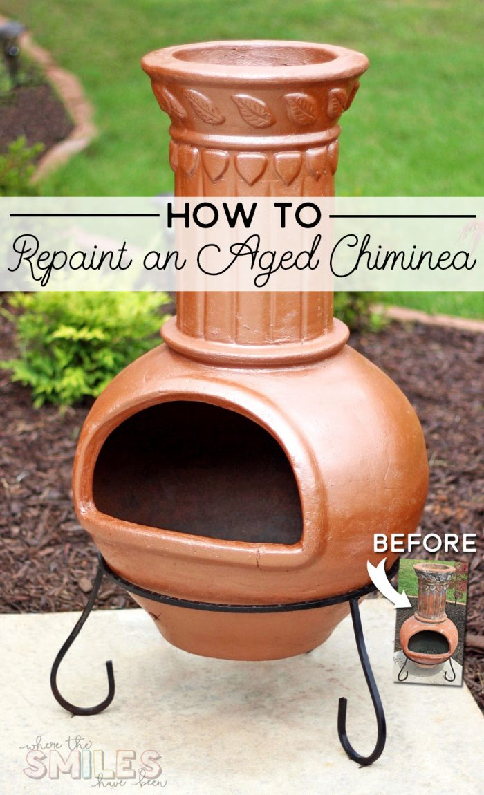 How to Bring an Aged Chiminea Back to Life with Spray Paint! | Where The Smiles Have Been #chiminea #firepit #backyard #patio #DIY #makeover #upcycle #highheatspraypaint #copper #copperspraypaint