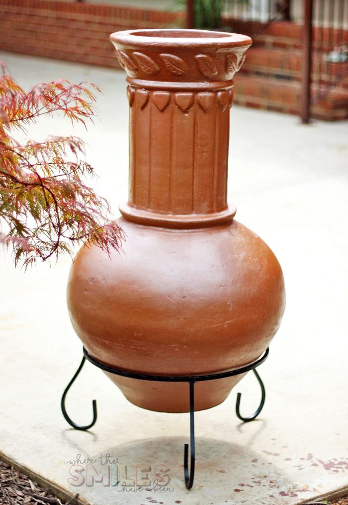 How to Bring an Aged Chiminea Back to Life with Spray Paint!   Where The Smiles Have Been #chiminea #firepit #backyard #patio #DIY #makeover #upcycle #highheatspraypaint #copper #copperspraypaint