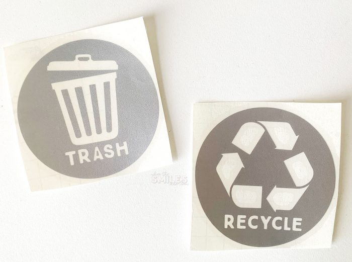 DIY Trash & Recycling Vinyl Decals + FREE Cut Files! | Where The Smiles Have Been #vinyl #vinyldecal #freecutfile #freebie #Silhouette #SilhouetteCameo #SilhouetteRocks #SVG #Cricut #trashcan #recycling #plannersticker #ECLP #kitchen #home #homeimprovement #organization