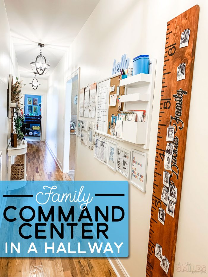 Hallway Family Command | Where The Smiles Have Been #commandcenter #familycommandcenter #home #organization #mealplanning #planner #cleaning #cleaningchecklist #chorechart #calendar #backtoschool #schoolorganization #growthchart #beforeandafter