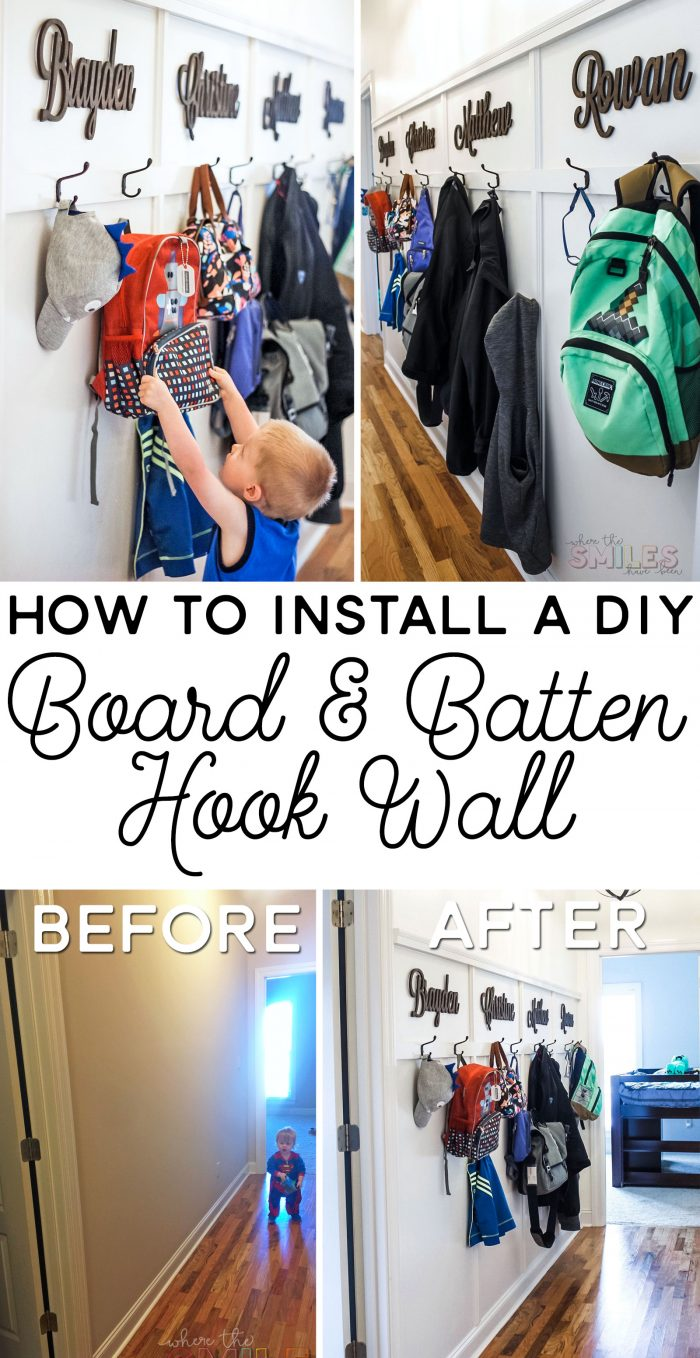 DIY Board and Batten Wall with Hooks: A Mini Hallway Mudroom