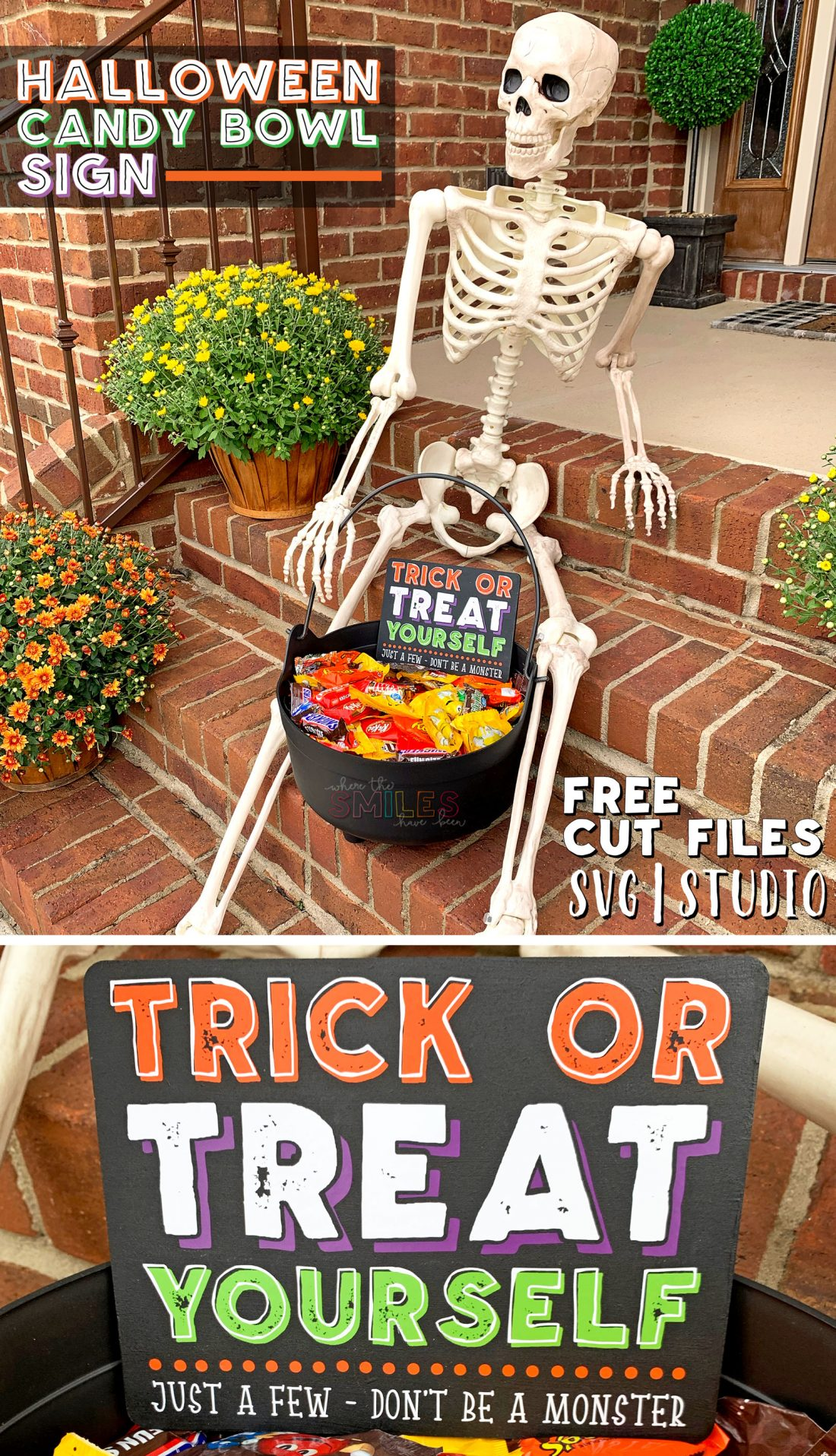 DIY 'Trick or Treat Yourself' Halloween Candy Bowl Sign + FREE Cut File!