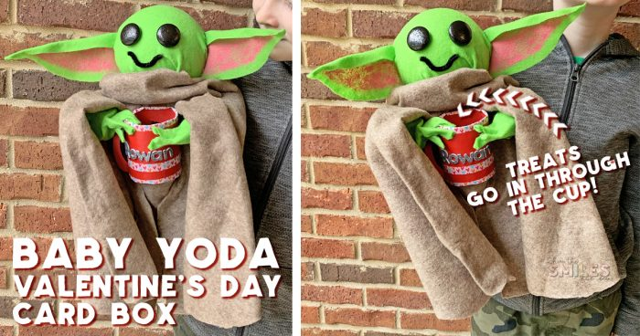 DIY Baby Yoda Valentine Card Box | Where The Smiles Have Been #ValentinesDay #ValentineCardBox #ValentineBox #ValentinesDayCard #DIYValentineBox #BabyYoda #Yoda #TheMandalorian #ThisIsTheWay #SchoolParty #ValentinesDayParty