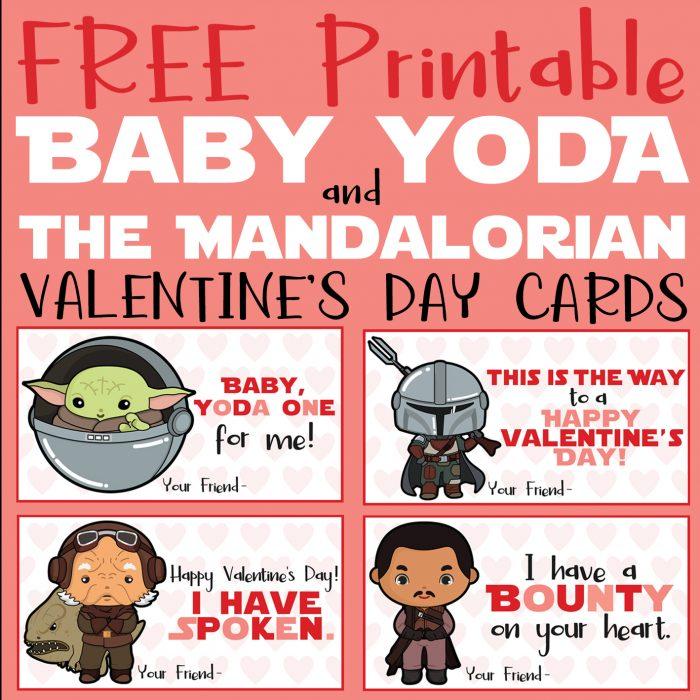 FREE Printable Baby Yoda & The Mandalorian Valentine's Day Cards