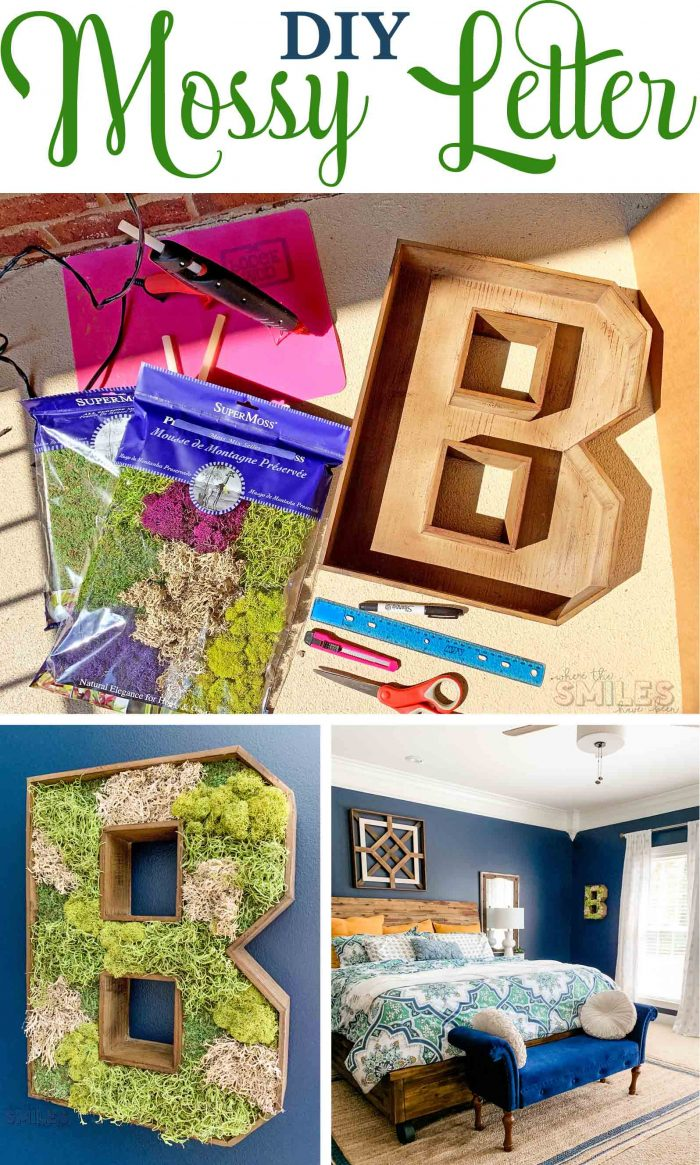 DIY Wooden Mossy Letter Home Decor | Where The Smiles Have Been #moss #mossletter #letter #monogram #initial #home #homedecor #personalizedhome #naturaldecor #farmhouse #farmhousedecor #DIY #mosscraft