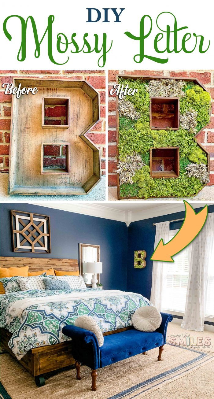 DIY Wooden Mossy Letter Home Decor
