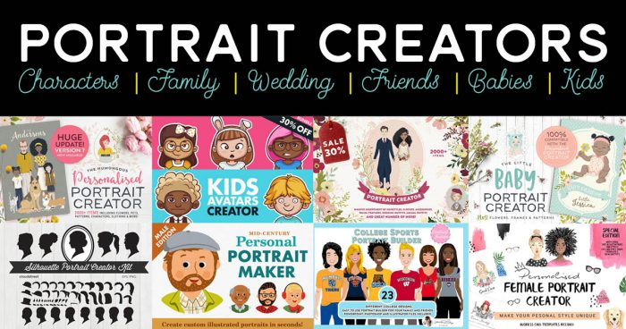 Awesome DIY Portrait Creators for Families, Kids, Weddings, & More! | Where The Smiles Have Been #portrait #portraitcreator #familyportrait #wedding #weddingportrait #personalized #personalizedportrait #graphicdesign #cartoon #avatar #charactercreator #adobe #illustrator #photoshop #DIYgift