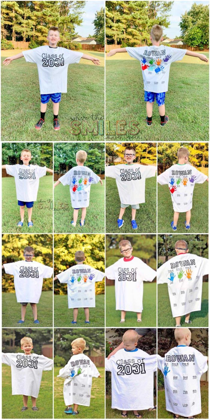 Back to school shirt with yearly handprints.