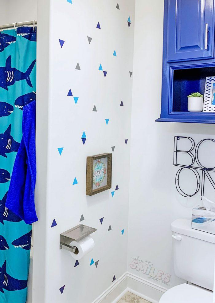 shark kids bathroom vinyl wall decals.