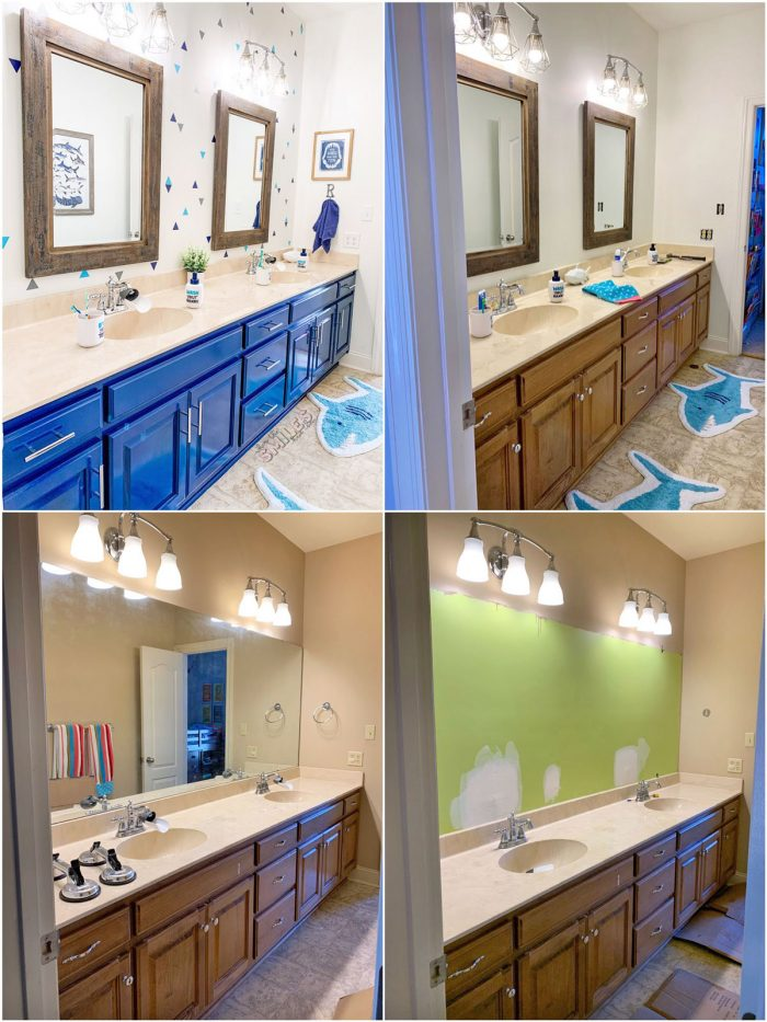 This kids bathroom makeover is SO COOL and was SO EASY! Kids Bathroom Makeover: Shark Attack! | Where The Smiles Have Been #bathroom #bathroommakeover #kidsbathroom #kidsroom #shark #sharkbathroom #paintedcabinets #bluebathroom #bluecabinets #vinyl #indoorvinyl #vinylwallpaper #wallpaper #makeover #easymakeover #DIYmakeover #beforeandafter #beforeandafterbathroom