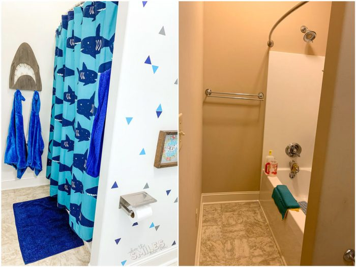 kids bathroom makeover before and after shower tub