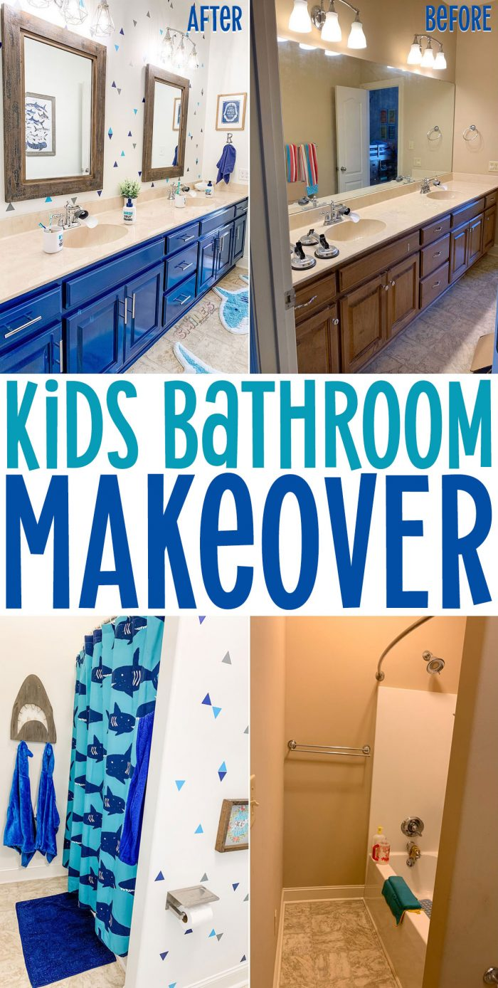 Kids bathroom makeover with blue cabinets and shark theme.