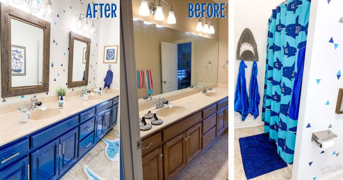 Before and after kids bathroom makeover